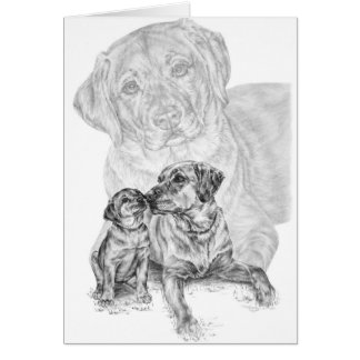 Lab Dog & Puppy Drawing by Kelli Swan Card