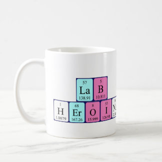 Lab Heroine periodic table name mug