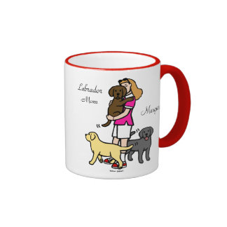 Lab Mom in the Pink Shirt 2 Mugs