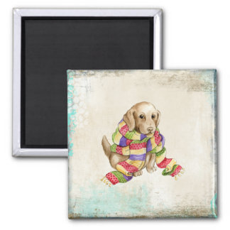 Lab Puppy in Knit Scarf Magnet