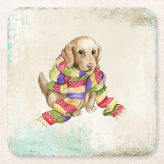 Lab Puppy in Knit Scarf Square Paper Coaster