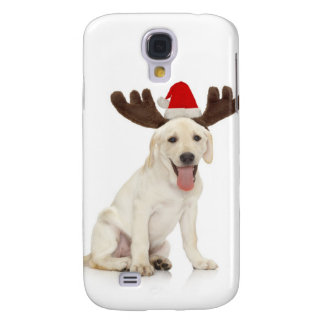 Lab Puppy Wearing Antlers Galaxy S4 Case