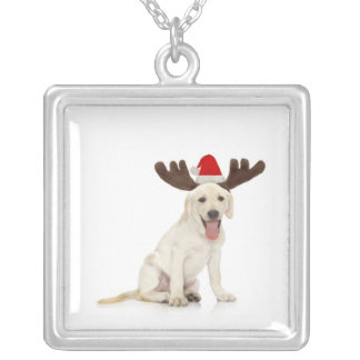 Lab Puppy Wearing Antlers Silver Plated Necklace