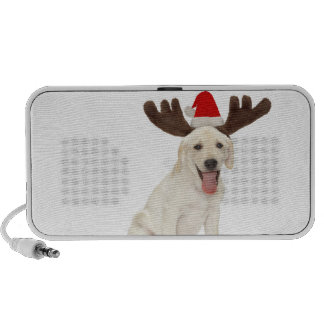 Lab Puppy Wearing Antlers Travelling Speakers