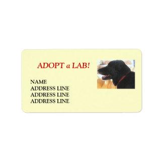 Lab Shelter Dog Adoption - Western Return Address Address Label