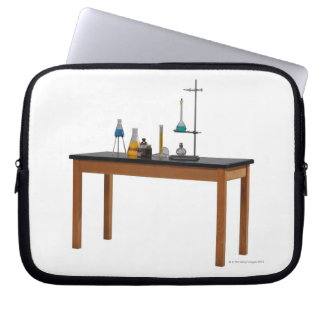 Lab table with chemicals laptop sleeve