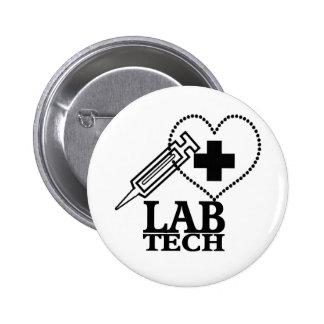 LAB TECH HEART SYRINGE LOGO - LABORATORY SCIENTIST 6 CM ROUND BADGE