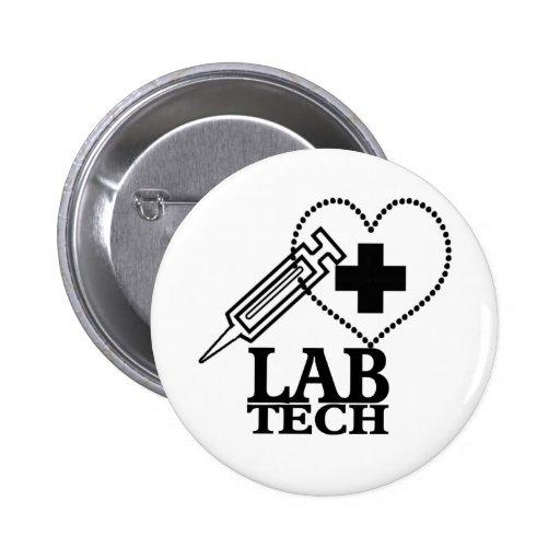 LAB TECH HEART SYRINGE LOGO - LABORATORY SCIENTIST PINBACK BUTTONS
