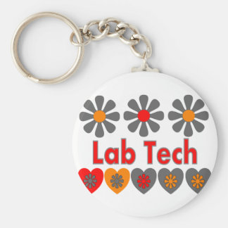 Lab Tech RETRO flowers Basic Round Button Key Ring