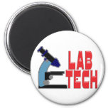 LAB TECH with MICROSCOPE 6 Cm Round Magnet
