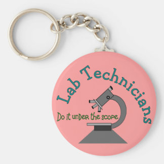Lab Technician Basic Round Button Key Ring