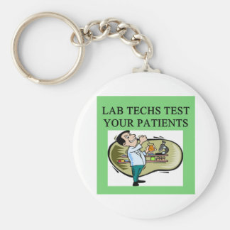 lab technician medical joke basic round button key ring