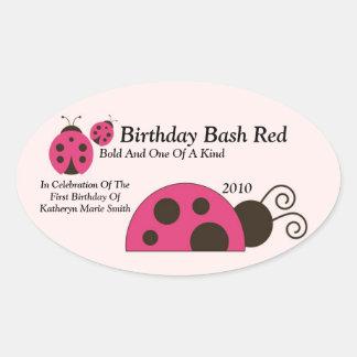Labdybug Wine Label Oval Sticker