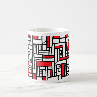 Labean Abstract Expression Red White Black Basic White Mug
