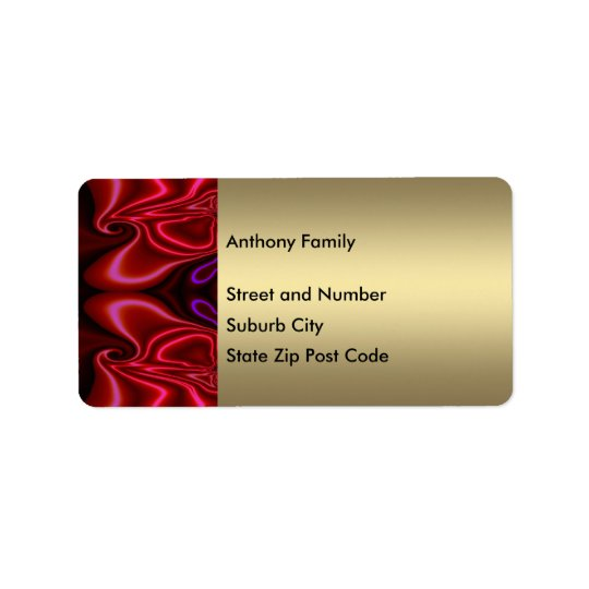 Label Abstract Faux Silk Red Purple on Gold