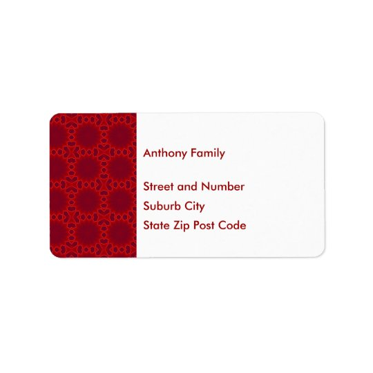 Label Abstract Red Circles Pattern on White Address Label