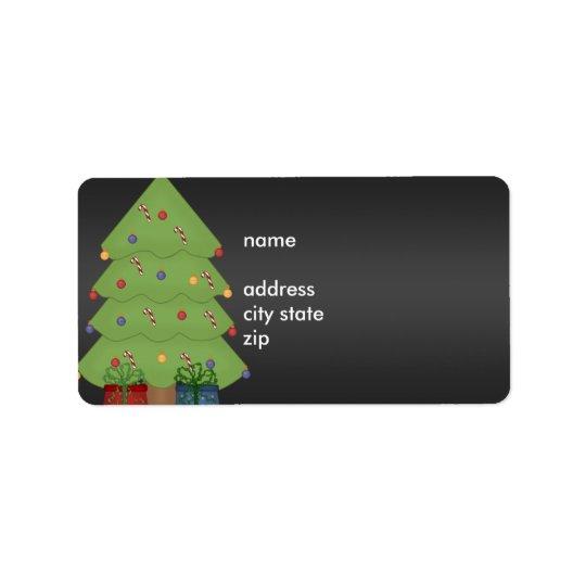 Label Address Christmas Tree on Black
