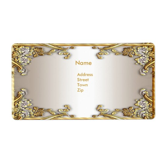 Label Address Elegant Gold Cream
