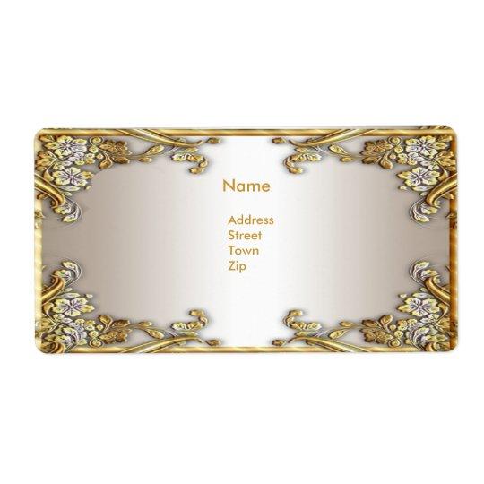 Label Address Elegant Gold Cream Shipping Label