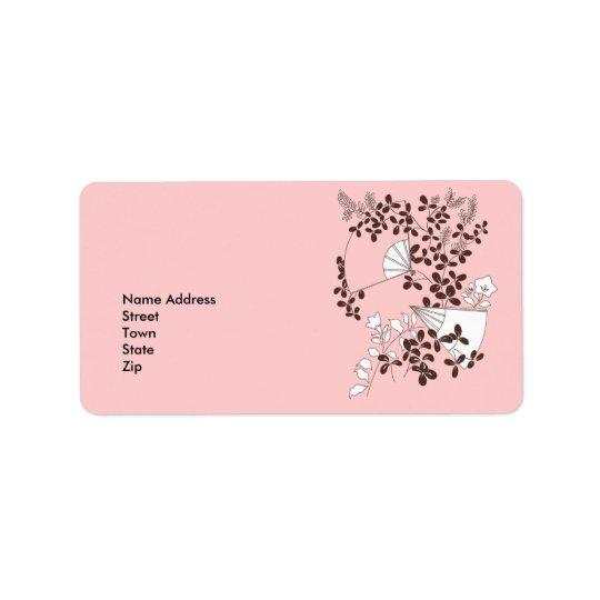 Label Address Sticker Vintage Retro Floral Fans Address Label
