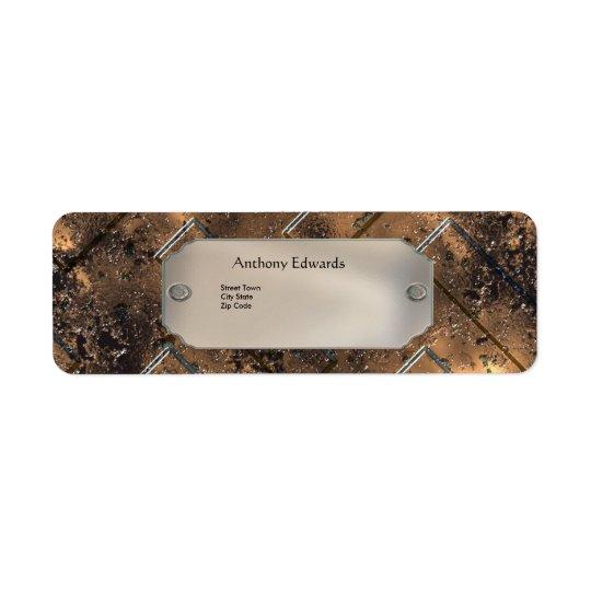 Label Elegant Personal Business Rusty Metal 2 Return Address Label