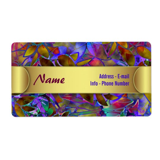 Label Floral Abstract Stained Glass Shipping Label
