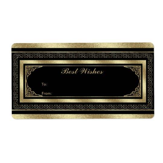Label Gift Tag Brocade Black Gold