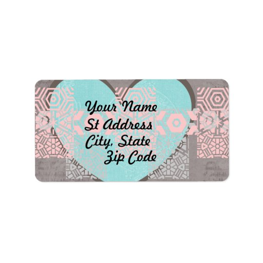 Label, Grey, and  White, Blue Heart, Pink Grunge Address Label