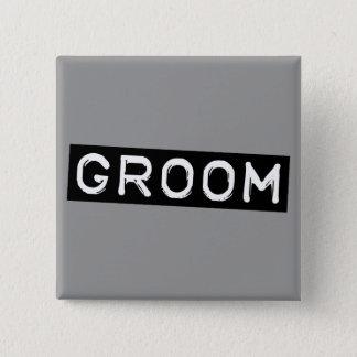 Label Groom 15 Cm Square Badge