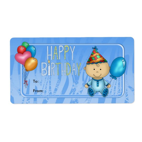 Label Kids Gift Tag Birthday Blue Shipping Label