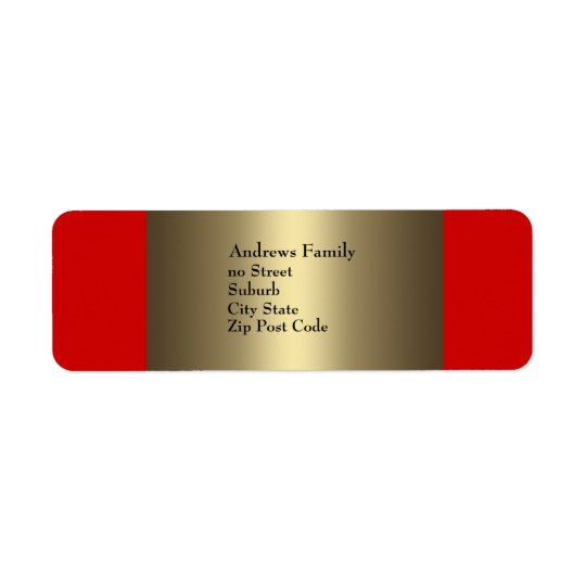 Label Red & Bronze Simple Return Address Label
