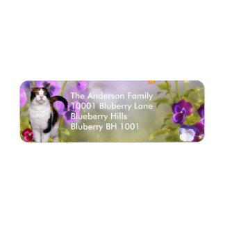 Label Return Address Cat & Flowers Return Address Label