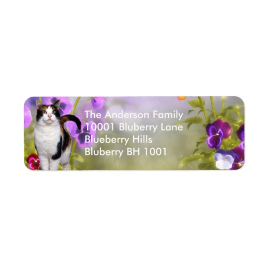 Label Return Address Cat & Flowers Return Address Label