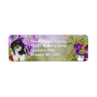 Label Return Address Shih Tzu & Flowers