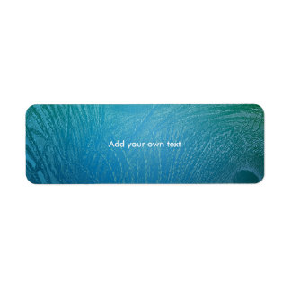 Label Sticker Peacock Feather Abstract Blue Return Address Label
