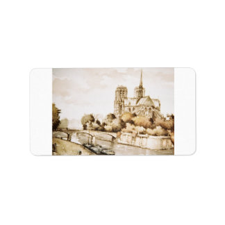 Label with Notre Dame Cathedral image in colour Address Label