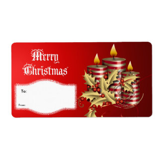 Label Xmas Gift Christmas Red Candles