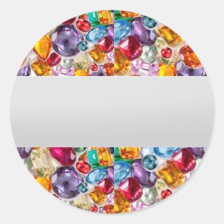 Labels GEMS Jewels Print TEXT  or Handwrite Round Sticker