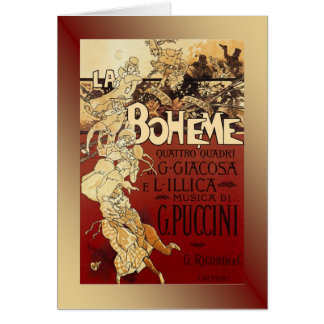 LaBoheme ~ Puccini Opera 1896 w/Background Greeting Card