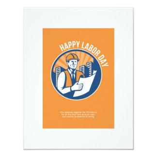 Labor Day Celebration Poster Retro 11 Cm X 14 Cm Invitation Card