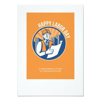 Labor Day Celebration Poster Retro 11 Cm X 16 Cm Invitation Card