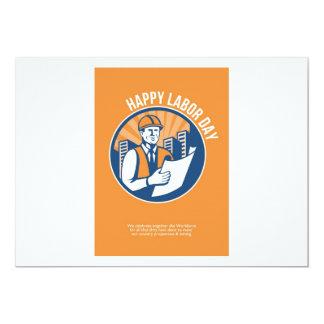 Labor Day Celebration Poster Retro 13 Cm X 18 Cm Invitation Card