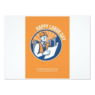 Labor Day Celebration Poster Retro 17 Cm X 22 Cm Invitation Card