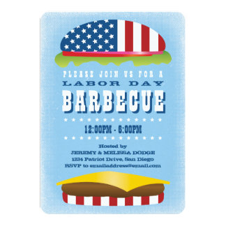 Labor Day Patriotic Burger Barbecue Card