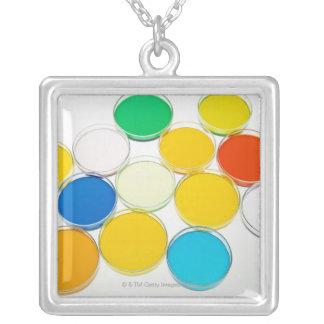 Laboratory Dish 2 Square Pendant Necklace