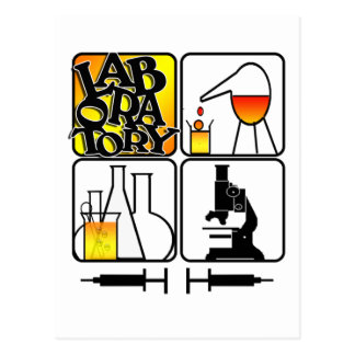 LABORATORY LOGO 4 SQUARE - LAB ICONS POSTCARD