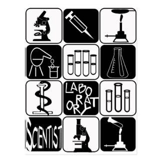 LABORATORY SCIENTIST SYMBOLS AND TOOLS POSTCARD