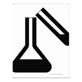 Laboratory symbol against white background postcard