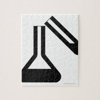 Laboratory symbol against white background puzzles