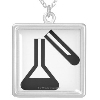 Laboratory symbol against white background silver plated necklace